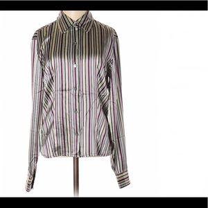 Striped silk button down blouse